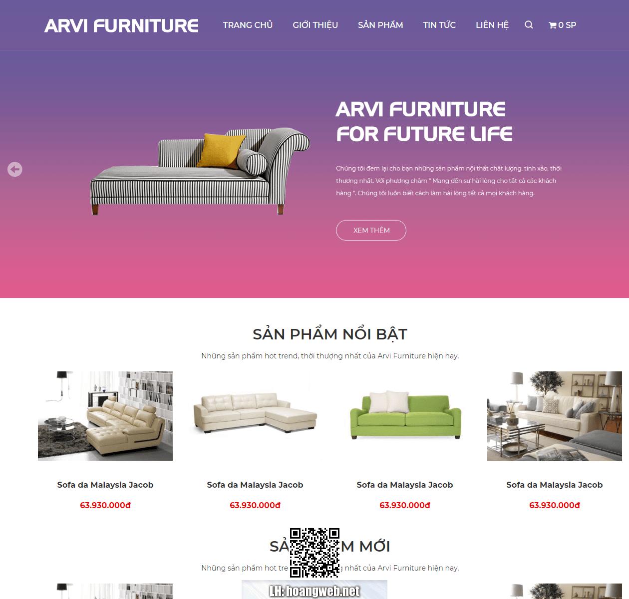 Mẫu web nội thất ARV Furniture thumbnail