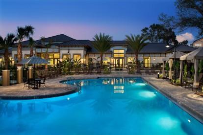 Dusk view of pool