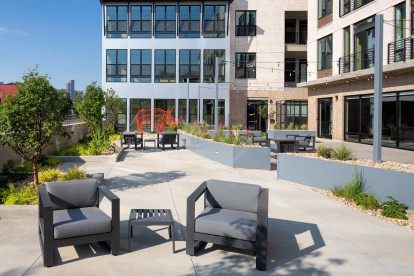 Sculpture courtyard with Rhino sculpture and lounge seating