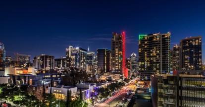Neighborhood skyline at night