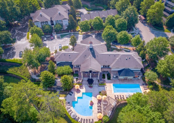 Aerial view clubhouse pools