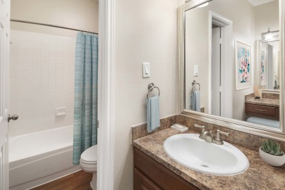 Bathroom with vanity and framed mirrors