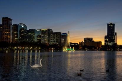 Lake eola swan and sunset