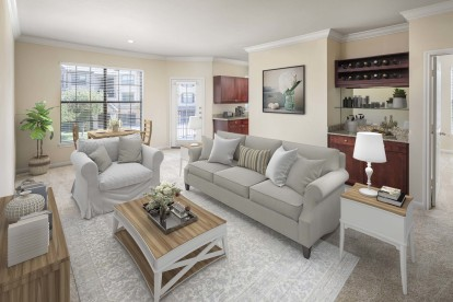 Estate style open concept living and dining with dry bar