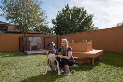 Dog park with pet wash station