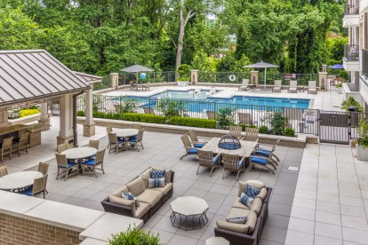 Outdoor lounge are with fire pits and resort style pool