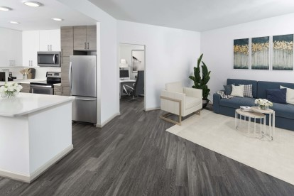 Open-concept apartments with home office space