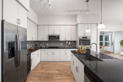 Penthouse kitchen with gas cooktop wine refrigerator and wood look flooring