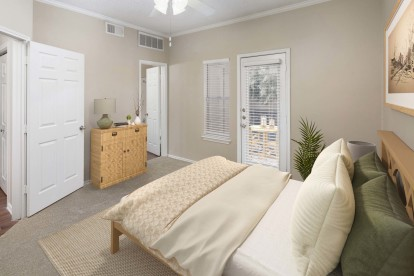 Bedroom with attached balcony and bathroom