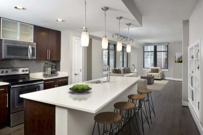 Warm modern style apartment with stainless steel appliances and warm cherry wood cabinets