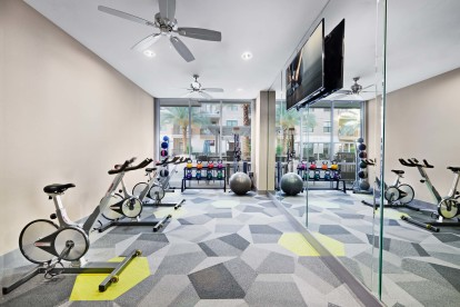Yoga and spin room with free weights