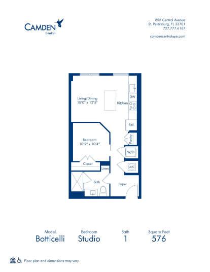 Botticelli Floor Plan at Camden Central - Studio Apartment Home