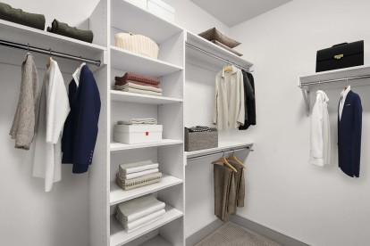 Large closet with custom built in shelving