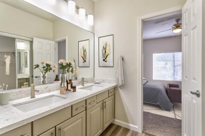 Two bedroom b4 bathroom double sink vanity ensuite to bedroom