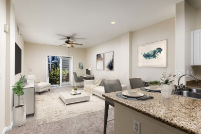 Traditional style open concept kitchen dining and living area