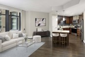 Warm Modern Style Apartment with Cherry Wood Finishes