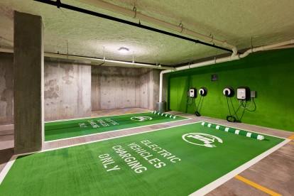 Electric vehicle parking indoor parking garage