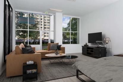 Street level apartment living room large windows