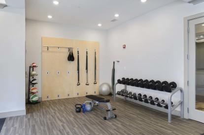 Fitness center strength training area