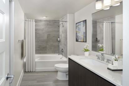 Sleek contemporary style bathroom with bathtub