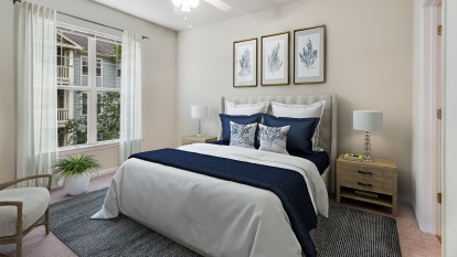 Bedroom with carpet and ceiling fan at Camden Governors Village Apartments in Chapel Hill, NC