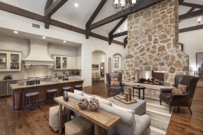 Clubhouse with fireplace and entertaining kitchen