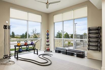 Fitness center yoga and cardio equipment