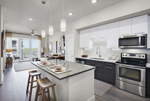 With open concept kitchen and living room