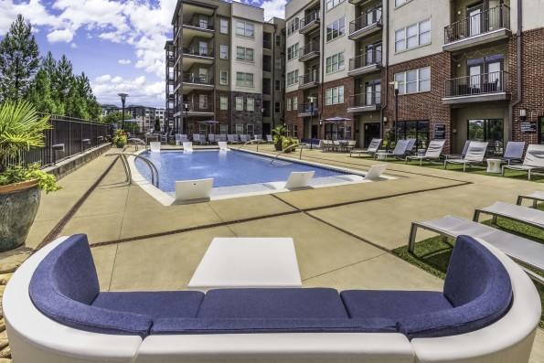 Lounge seating at resort style pool