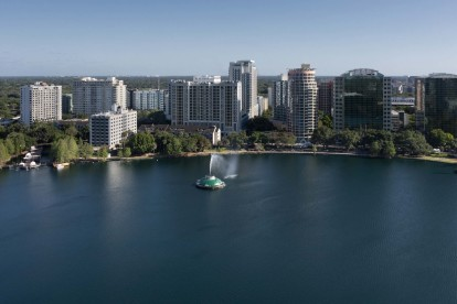 Aerial view of Lake Eola and Downtown Orlando