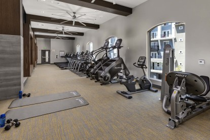 Fitness center cardio machines and stretching area