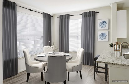 Modern style dining room with wood style flooring