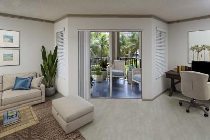 Living room, balcony, and home office at Camden Aventura.
