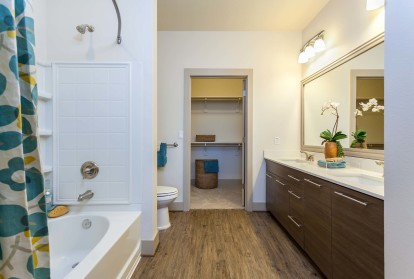 Ensuite bathroom with bathtub and curved shower wall and wood style flooring and double sink vanity adjacent to closet