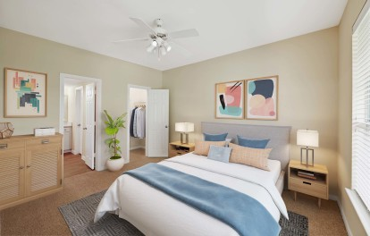 With spacious bedrooms with carpet ceiling fans and walk in closets
