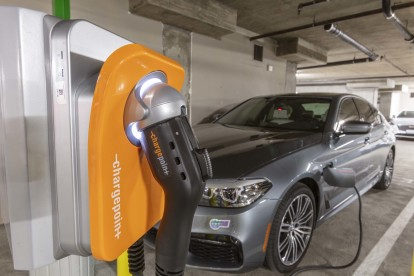 Indoor electric vehicle car charging parking spot