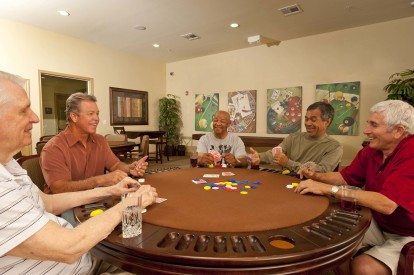 Poker tables in resident lounge for game night