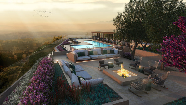 Outdoor resident fireplace lounge near pool and hot tub with a view