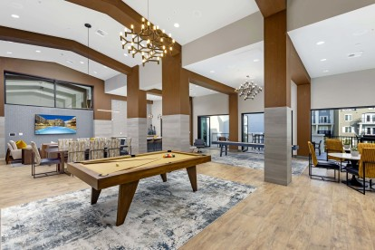 Resident lounge and game room with billiards, shuffleboard, kitchenette, and seating areas