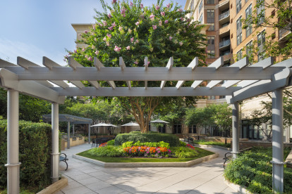 Serene outdoor courtyard with grilling stations at Camden Potomac Yard