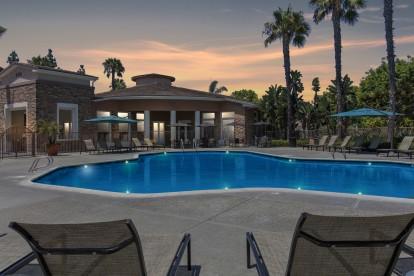 Dusk swimming pool