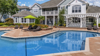 Pool with sundeck at Camden Governors Village Apartments in Chapel Hill, NC