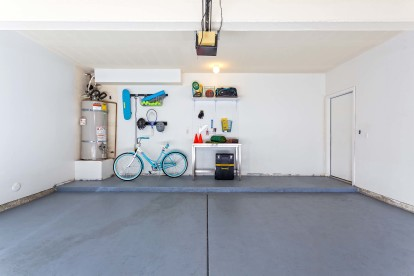 Two car attached garage with storage