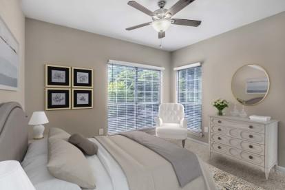 Bedroom tall windows