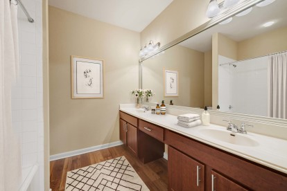 Classic finishes bathroom with double vanity