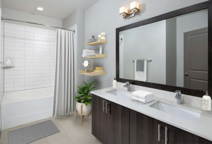 Bathroom with double vanity sink and bathtub and shower combination