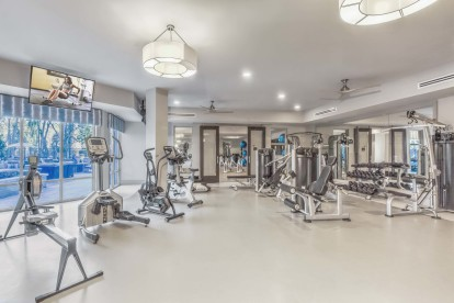 2500 square foot fitness center with cardio strength training and yoga room