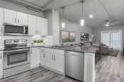 Contemporary midrise apartment kitchen and living room with hardwood style flooring