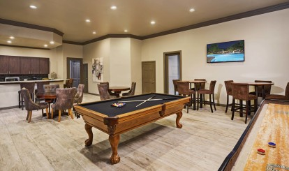 Resident lounge with shuffleboard billiards and entertaining kitchen