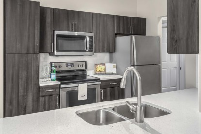 Kitchen with white quartz countertops and double sink